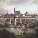Bautzenpanorama mit Eisenbahnbrücke, colorierte Postkarte um1850
