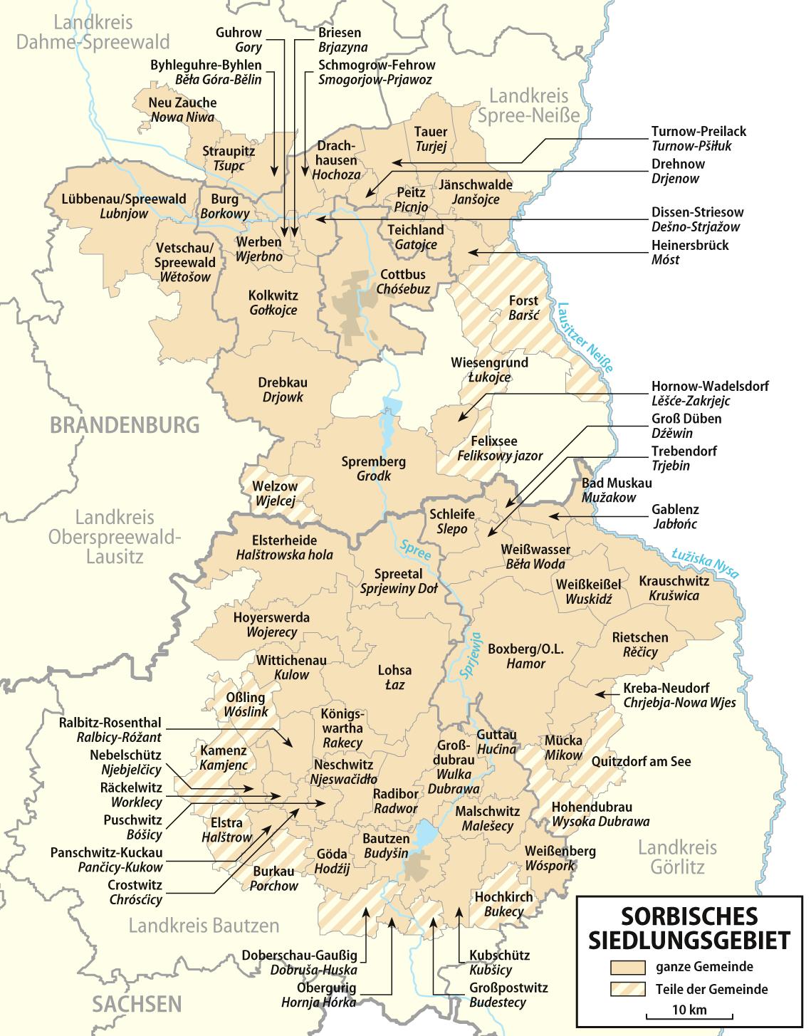 Lausitz Karte.Ferienwohnung Boehl Siedlungsgebiet Sorben